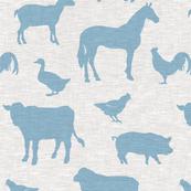 Farm animals - baby blue on grey linen