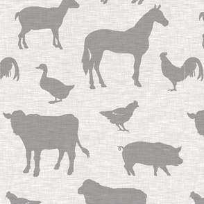 Farm animals - beige linen