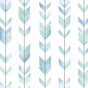 Watercolor arrow Feathers - pastel blue-green