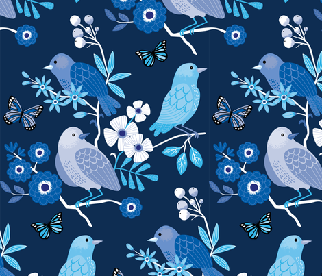 Indigo Garden fabric by lisa_kubenez on Spoonflower - custom fabric
