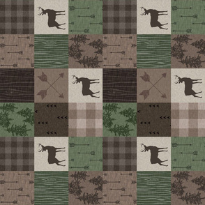 "3"" Wood Quilt - Hunter Green and Brown - ROTATED"