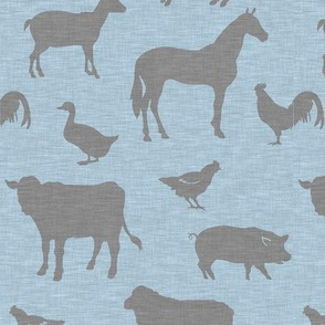 Farm animals - grey on blue
