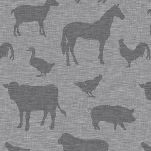 Farm animals - medium grey on grey linen