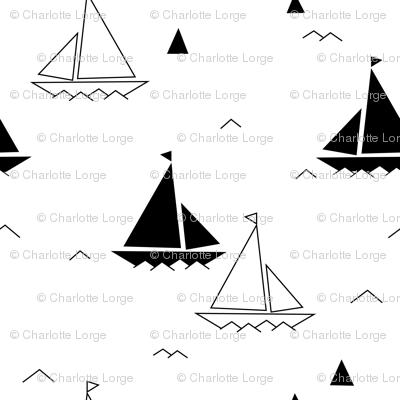 Black & white boats
