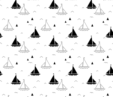 Black & white boats fabric by charlotte_lorge on Spoonflower - custom fabric