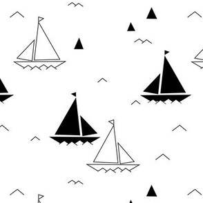 Black & white boats