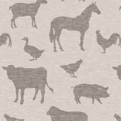 Farm animals - tan light brown linen