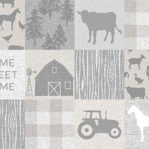 Home Sweet Home Farm Quilt - cream.grey