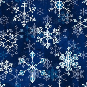 Snowflake crystals in royal blue