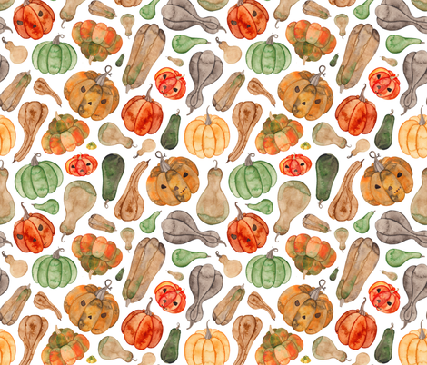 Halloween Pumpkins and Gourds fabric by elena_o'neill_illustration_ on Spoonflower - custom fabric