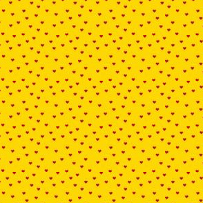 Scattered Hearts-Crayon Red on Golden Yellow