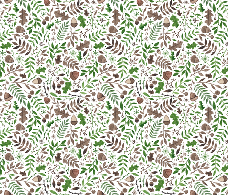 Acorns and Autumn/Fall Leaves fabric by elena_o'neill_illustration_ on Spoonflower - custom fabric
