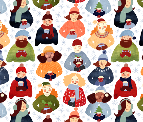 Christmas gingerbread latte drinkers fabric by cat_hayward on Spoonflower - custom fabric