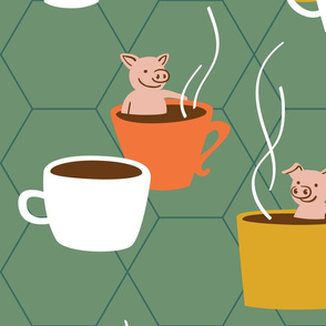 Big Retro Cups and Pigs - Teacup Pigs bathing in cups