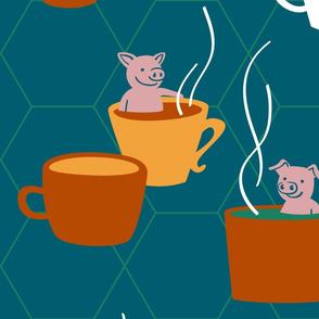 Big Retro Cups n' Pigs - Teacup Pigs bathing in cups