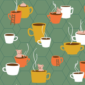 Retro Cups and Pigs - Teacup Pigs bathing in cups - Moss