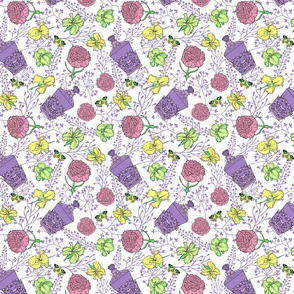 pattern with flowers and parfume