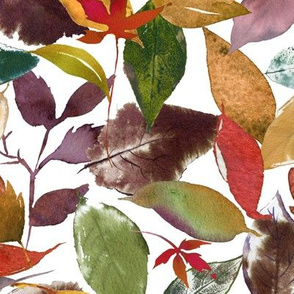 Autumn Fall Leaves Pattern // White
