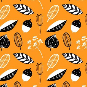 Fall pattern with doodle floral elements
