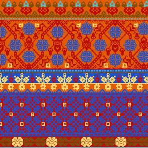 Brigid Fair Isle blue violet citrus