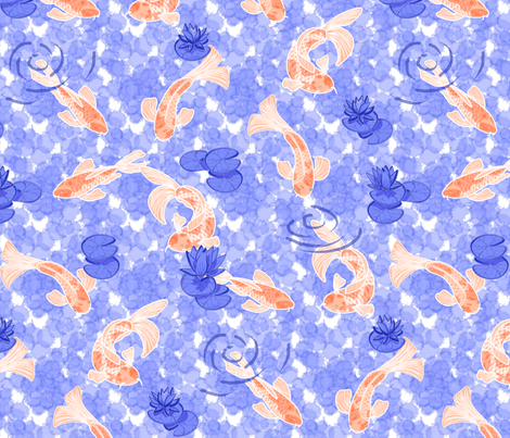 koi pond chinoiserie in tangerine and marine fabric by groundnut_apiary on Spoonflower - custom fabric