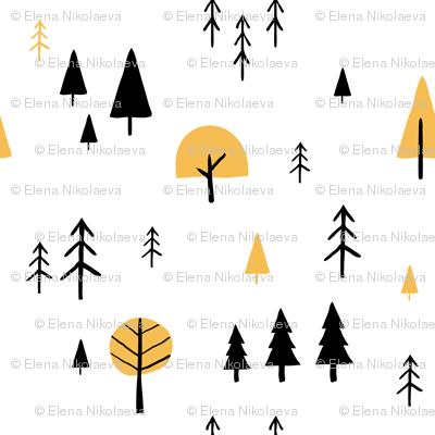 Simple minimalist trees pattern