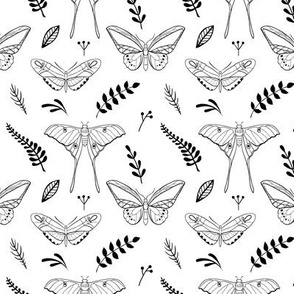 Pattern with butterflies and leaves