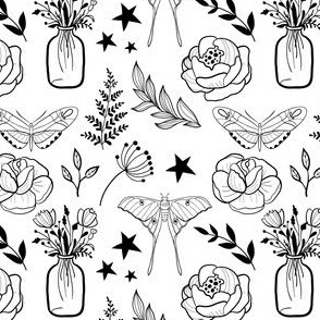 Monochrome pattern with flowers, butterfly, rose, stars