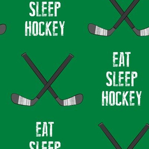 (Extra Large Scale) eat sleep hockey - cross sticks - green C18BS