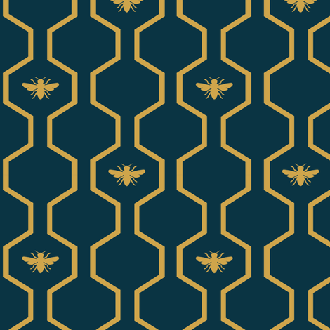 Bee Hive - Blue fabric by the_wookiee_workshop on Spoonflower - custom fabric