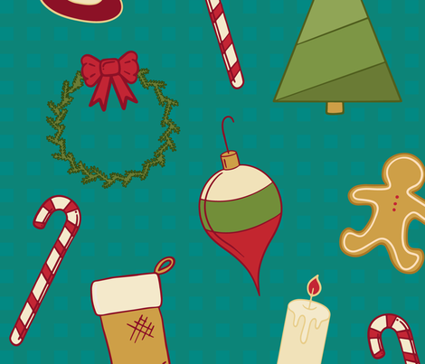 Vintage Christmas fabric by pmaxwelldesigns on Spoonflower - custom fabric