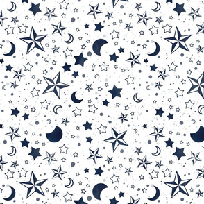 Moons and stars coordinate white