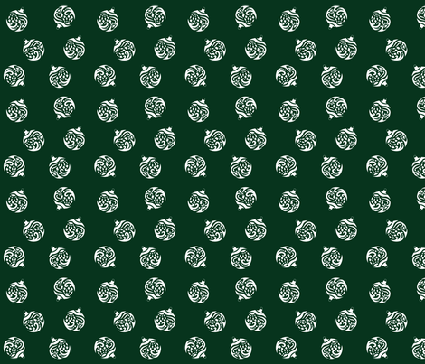Ornaments White On Green fabric by marigold_ink on Spoonflower - custom fabric