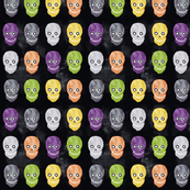 color Skull halloween pattern