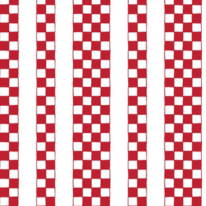Croatian national checks in stripes - red and white squares