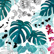 Tropical paisley white