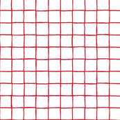 Red geometric grid on white background
