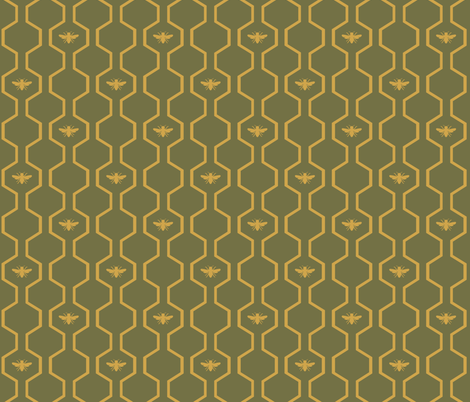 Bee Hive - Green fabric by the_wookiee_workshop on Spoonflower - custom fabric