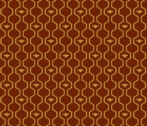 Bee Hive - Red fabric by the_wookiee_workshop on Spoonflower - custom fabric