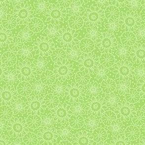 Green Flower Outlines Tonal