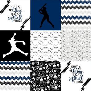 Softball//Dirt & Bling//Navy - Wholecloth Cheater Quilt