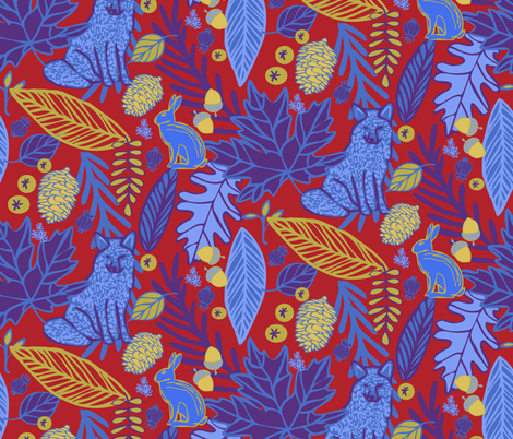 Woodland Forest in Blues & Reds & Golds fabric by lauriekentdesigns on Spoonflower - custom fabric