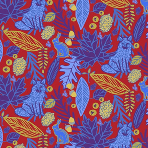 Woodland Forest in Blues & Reds & Golds
