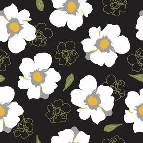 White Dogwood Flowers Black Large