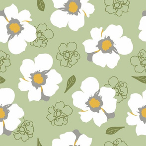 White Dogwood Flowers on Green Large