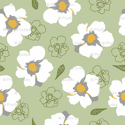 White Dogwood Flowers on Green small