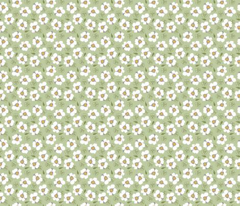 White Dogwood Flowers on Green small fabric by phyllisdobbs on Spoonflower - custom fabric