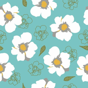 White Dogwood Flowers Turquoise Large
