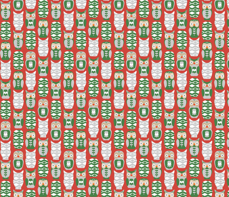Owls and Hearts for Christmas fabric by dalymadecraft on Spoonflower - custom fabric