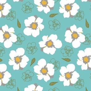 White Dogwood Flowers Turquoise Med